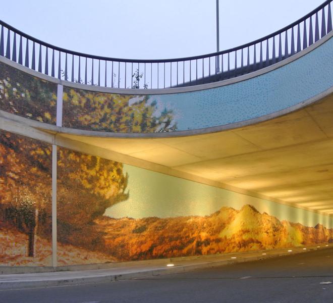 Mozaïekkunst in een openbare ruimte