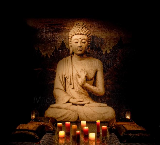 Boeddha glasmozaiek met Borobudur mozaiek van Milovito