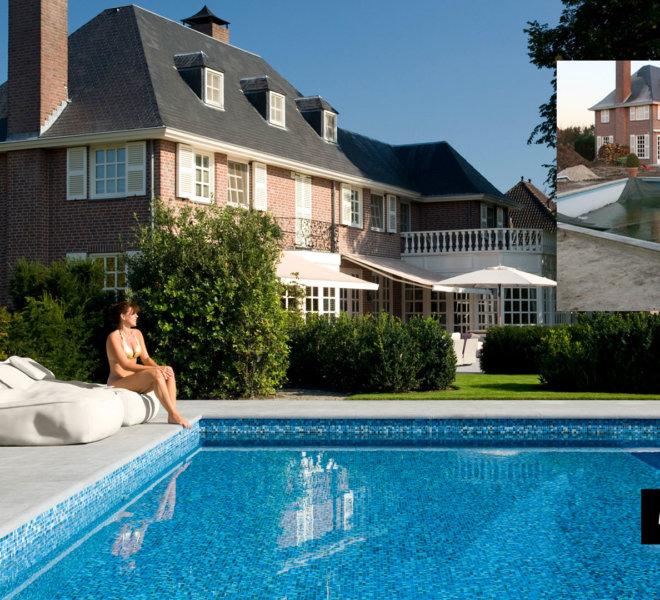 zwembad renovatie met glasmozaiek blauw parelmoer goud amazing pool design