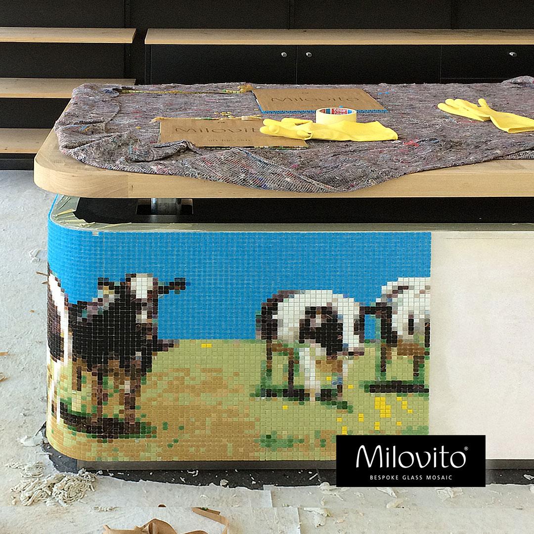 mozaiek kunst Hollandse koeien Beemsterkaas balie