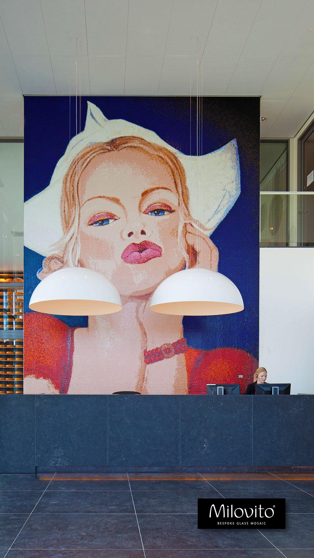 mozaiek kunst portret kaasmeisje Beemsterkaas