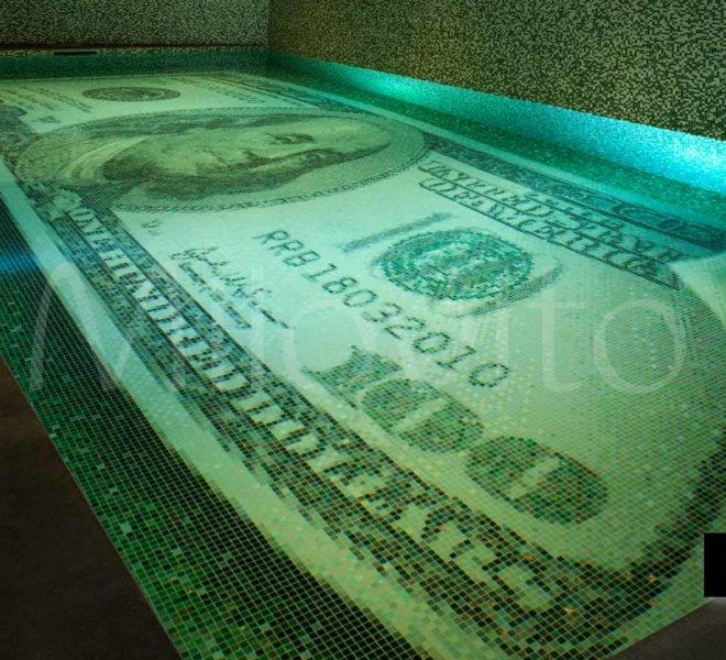 100 dollar greenback swimming pool tiles glass mosaic underwater window tower heist