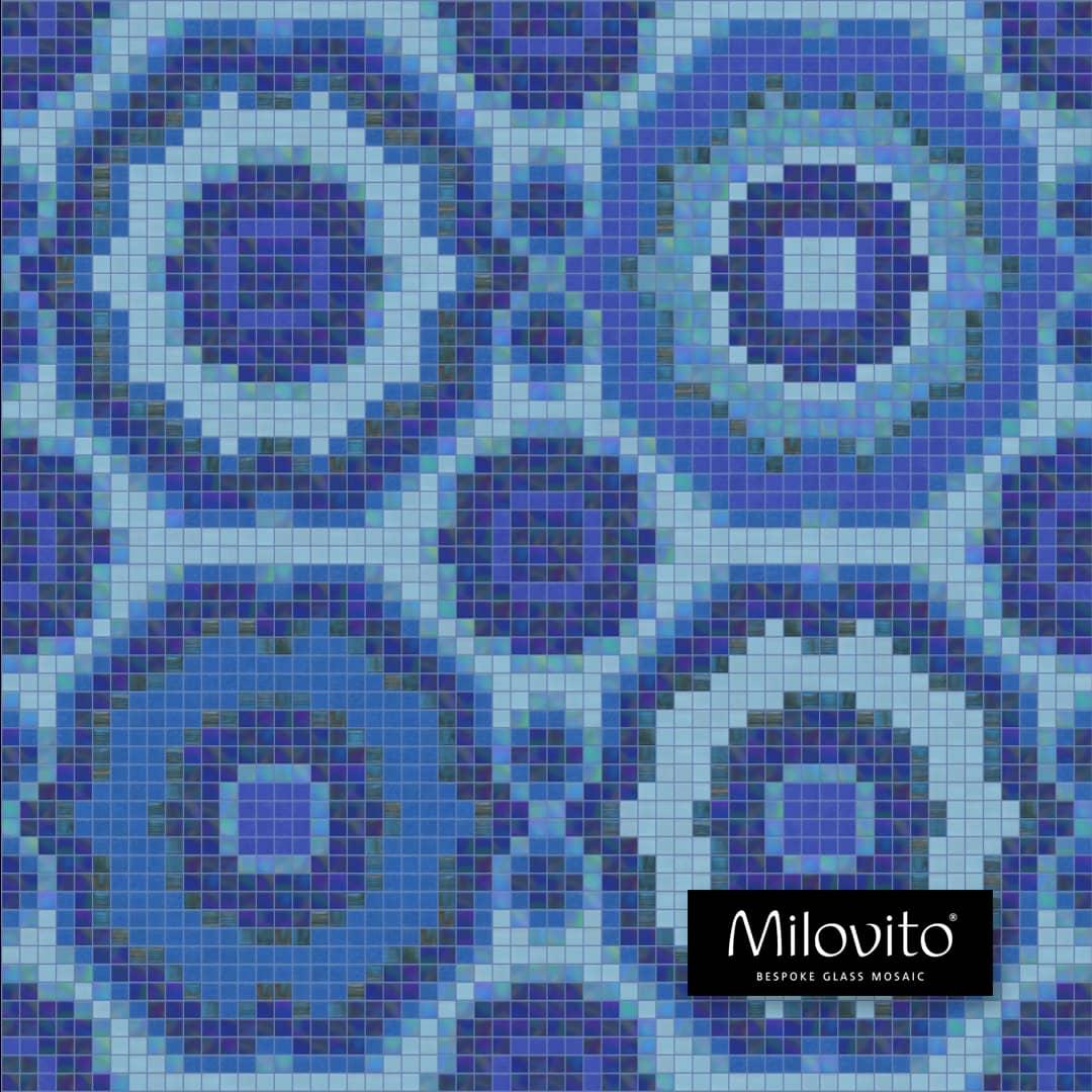 mozaiek patroon Jeddah. Prachtige delfts blauwe tinten in een oriëntaals patroon. Geschikt voor wand en vloer. Liever in uw eigen kleuren? Dat kan!