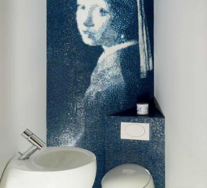 Meisje met de parel Vermeer mozaïek tegels toilet wc Delfts Blauw