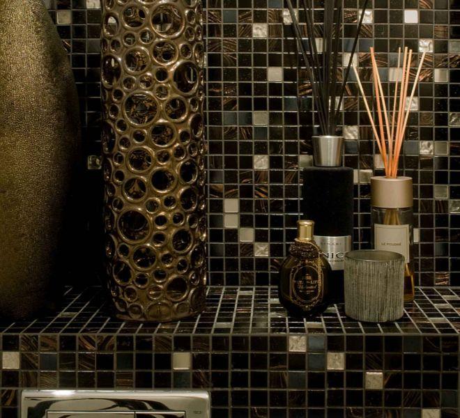 mozaiek tegels zwart goud