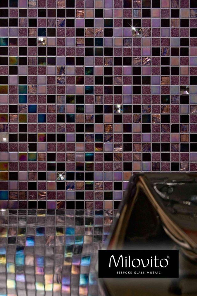 glasmozaïek Milovito Jacinta aubergine mozaïek tegels paars zwart parelmoer waskom Swarovski® Pinterest
