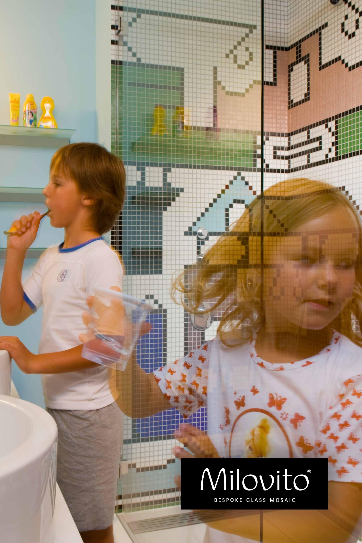 mozaiek badkamer kinderen afrikaans tekening tanden poetsen