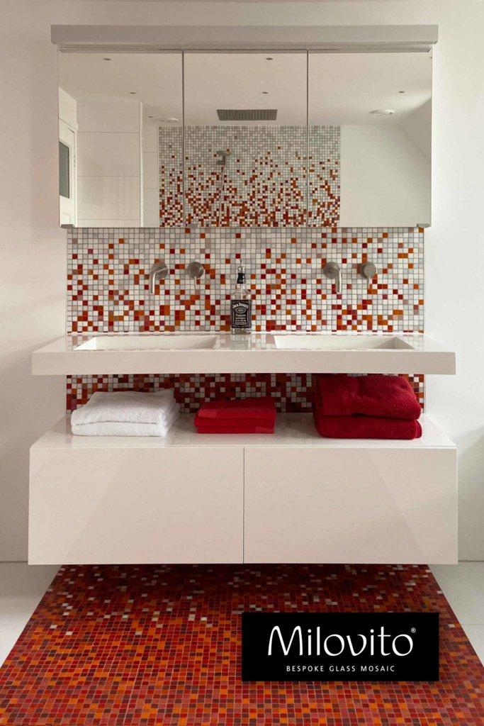 Sfumature rood kleur verloop mozaiek tegels vloer