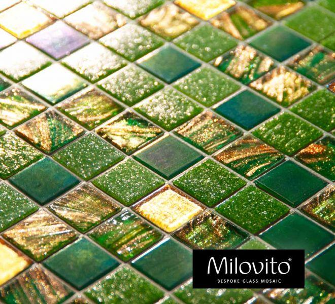 mozaiek tegels groen geel goud