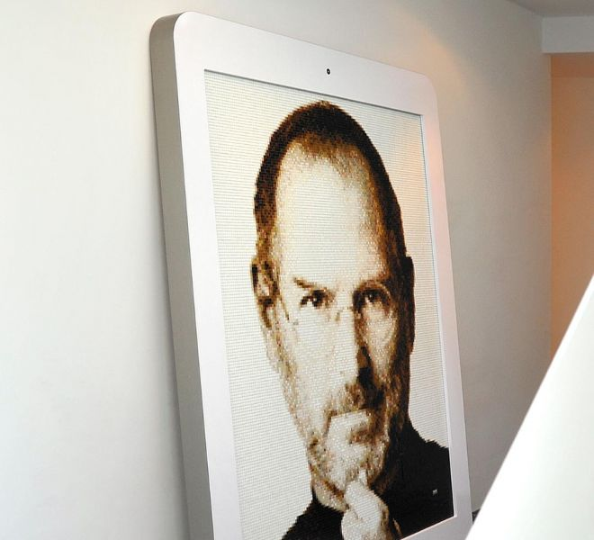 Portrait of Steve Jobs from Apple made of