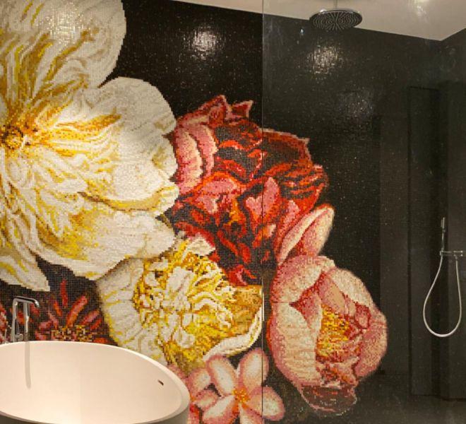 glasmozaiek bloemen patroon