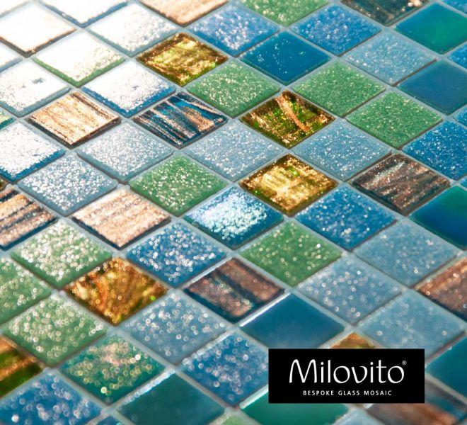 mozaiek tegels Milovito blue green azure zwembad