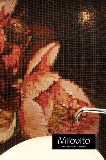 mozaiek tegels badkamer bloemen