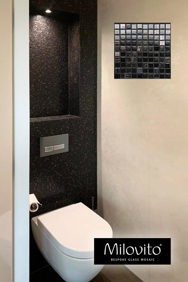 mozaiek tegels toilet brons