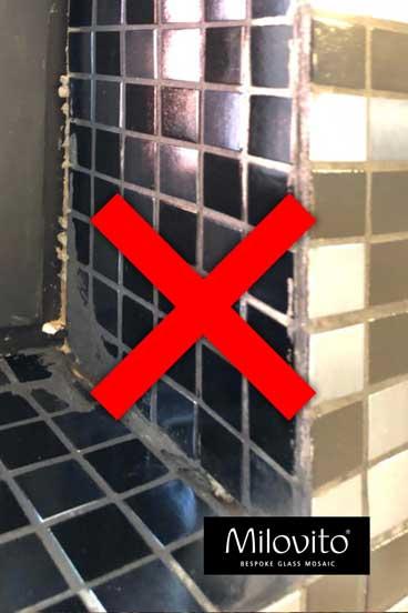 mozaiek tegels slecht gevoegd