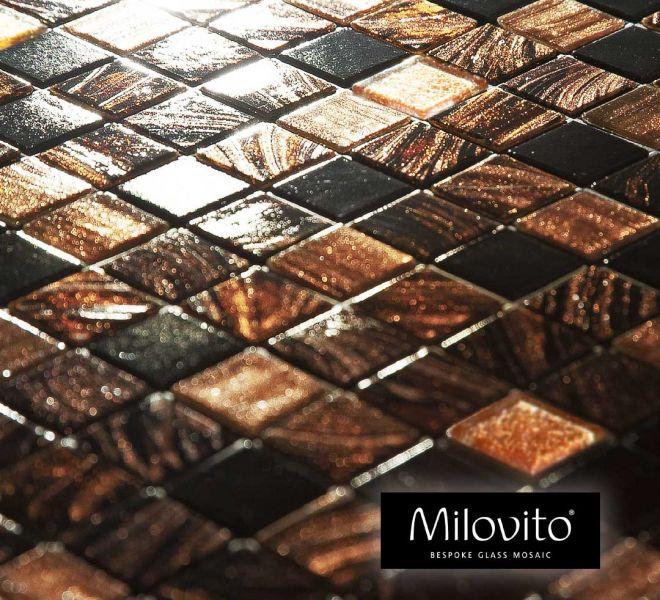 glasmozaiek tegels mix brons bruin goud zwart