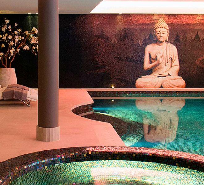 glasmozaiek zwembad tegels brons bruin zwart Boeddha